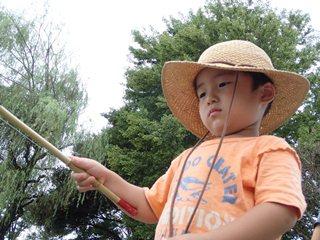 最年少釣り師の鋭い眼差し